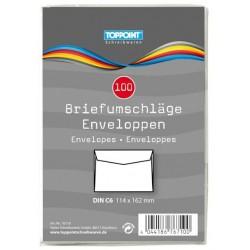 Briefumschläge C6 weiß nassklebend ohne Fenster TopPoint® (100 Stück)