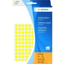Etiketten rund Markierungspunkte Ø 8mm gelb sk Herma Pa.=5632St.