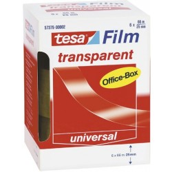 Klebefilm Tesa 25mmx66m transparent PP Office-Box á 6 Rollen