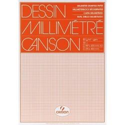 Millimeterpapier DIN A3 50 Blatt weiß Druck rot 80g/m² (1 Block)