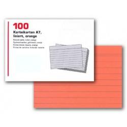 Karteikarten liniert DIN A7 orange (1 Pckg. á 100 Stck.) SONDERANGEBOT