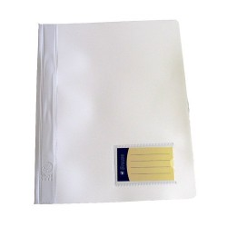 Schnellhefter PVC-Folie mit Innentasche DIN A4 weiß /  1 Stück
