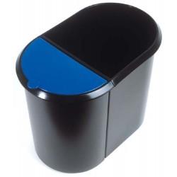 Papierkorb Duo-System zweitlg. schwarz mit blauem Deckel 1 Stück