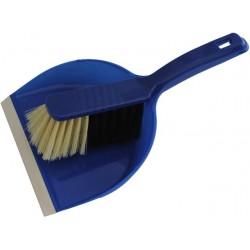Kehrgarnitur Kehrschaufel mit Handfeger Kunststoff mit Lippe m. Aufhängeloch Blau