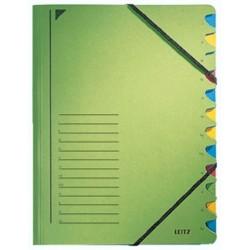 Ordnungsmappe Leitz 3912 A4 12 Fächer Eckspanner 450g grün 1S