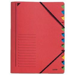 Ordnungsmappe Leitz 3912 A4 12 Fächer Eckspanner 450g rot
