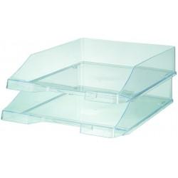 Ablagekorb A4 - C4 stapelbar hochglanz transparent glasklar 2 Stück