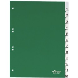 Register Durable 6210 Zahlen 1-12 A4 PP 12 Blatt grün