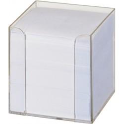 Zettelkasten Zettelbox transparent gefüllt für 9x9cm Notizzettel weiß