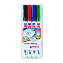 CD-Marker Edding 8400 farbig sortiert 1.0mm sw/ro/bl/gr 4er Set