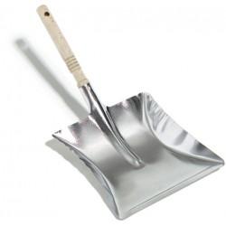 Kehrblech Kehrschaufel mit Holzgriff Metall ohne Lippe silber