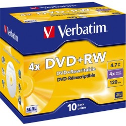 DVD-Rohling 4,7GB DVD+RW Verbatim 4x wiederbeschreibbar 10St.