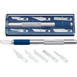 Skalpell-Set WEDO silber/blau 15cm  inkl. 6 Klingen in verschiedenen Formen