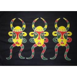 SARONG PAREO WICKELTUCH SAUNATUCH BALI schwarz Motiv rot gelb grün