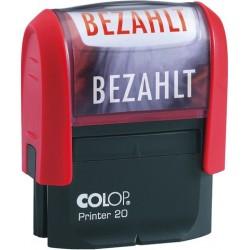 Stempel BEZAHLT 38x14mm selbstfärbend Druckfarbe rot