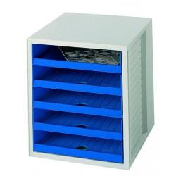 Formularkasten·HAN 1401 mit 5 offenen Schubladen·A4·grau/blau