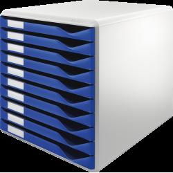 Formularkasten Leitz 5281 m. 10 Schubladen A4 lichtgrau / blau