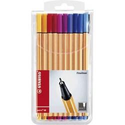 Tintenschreiber Stabilo Point 88 0,4mm farbig sortiert 20 Stifte im Etui