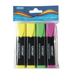 Textmarker 3 Farben gelb grün pink Keilspitze TopPoint® im Polybeutel mit Aufhängeloch 4er Set
