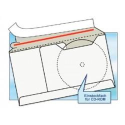CD-Versandtasche DIN LANG (100 Stk.) Weiss Fenster links