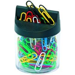 Büroklammerspender magnetisch farblos schwarz + Büroklammern