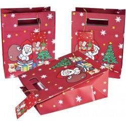 Weihnachts-Geschenktaschen 33x26x13cm Nikolaus mit Geschenkanhänger 5 Stück