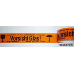 """KLEBEBAND """"Vorsicht Glas"""" 50mmx66m Signal-Orange (6 Rollen)"""