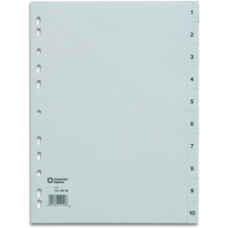 Register PP 0,12mm 1-12 A4 volle Höhe 12 Blatt grau (1 Stück)
