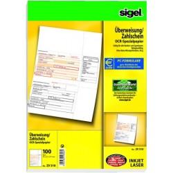 Überweisungsformular f. PC Bankformular Sigel ZV510 / 1 Pckg.