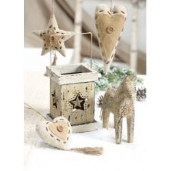 Laterne mit Stern Metall 10 x 13 cm creme gewischt für Teelichter o. Kerzen