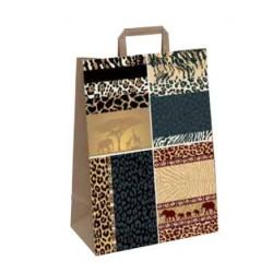 Tragetasche Papier 22+11x28cm Kraftpapier 70g/m² Animal Print Afrika (50 Stück)