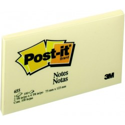 Haftnotizen Post-It 127x76mm gelb Typ 655 (100 Blatt = 1 Block)