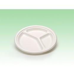 Biobiene®Teller rund Ø260mm 3 Unterteilungen (50 Stück)