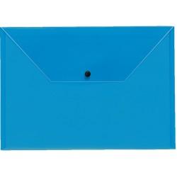 Dokumententasche A4 mit Druckknopf transparent blau