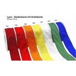 Schleifenband mit Drahtkante Lyon 40mmx25m weiß 601