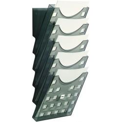 Prospekthalter zur Wandbefestigung 5 Fächer grau transparent