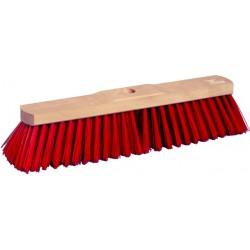 Besen 40cm hart 1-Loch-System Holz rote Borsten Elaston mit Stielloch