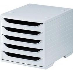Schubladenbox mit 5 offenen Schubladen C4 lichtgrau