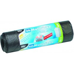 Müllsack LDPE 0,022 mm 60l 650x750mm Zugband grau Ro. á 20 St.