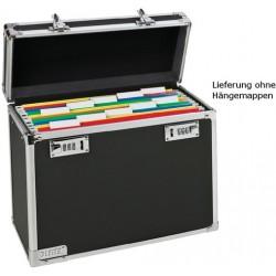 Hängebox A4 für 15 Hängemappen Koffer chrom/schwarz m. Schloss
