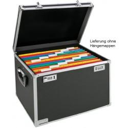 Hängebox A4 für 30 Hängemappen Koffer chrom/schwarz m. Schloss