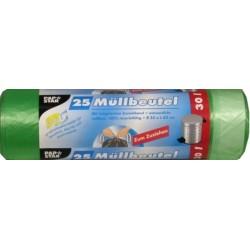 Müllbeutel HDPE 17µ 30l 550x700mm mit Zugband grün 1 Rolle