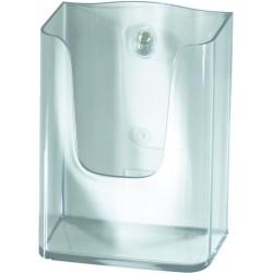 Prospekthalter zur Wandbefestigung 1 Fach DL 125x55x155mm glasklar