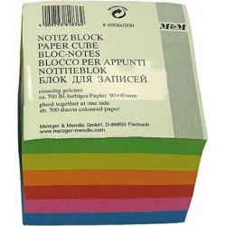 Notizwürfel Notizklotz Zettel 90x90mm farbig sortiert