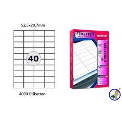 Heisap Etiketten Selbstklebe-Label 52,5x29,7mm (4000 Stück auf 100 Blatt A4)
