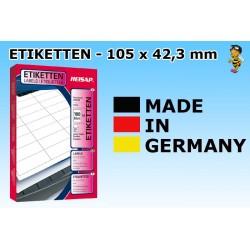 Heisap Etiketten Selbstklebe-Label 105x42,3mm (1400 Stück auf 100 Blatt A4)
