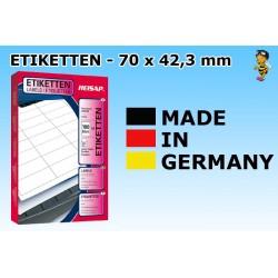 Heisap Etiketten Selbstklebe-Label 70x42,3mm (2100 Stück auf 100 Blatt A4)