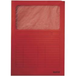 Sichtmappe A4 Karton 160g Leitz 3950 Sichtfenster Pergamin rot 100 Stück