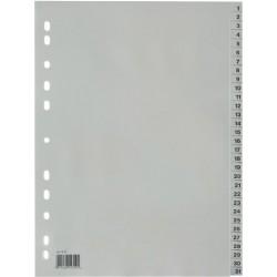 Register 1-31 A4 PP-Folie 0,12mm 31 Blatt volle Höhe grau