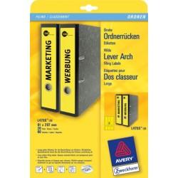 Rückenschilder PC Zweckform 4755 297x61mm gelb /Pckg. á 60St.